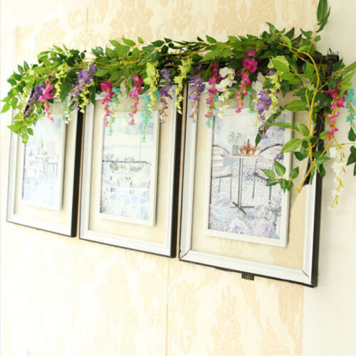 Artificial Wisteria Vine Garland Hallway Door Trailing Flower Plants Foliage Hot