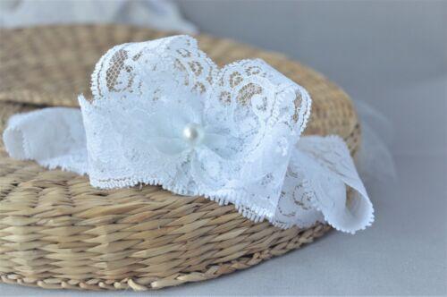 NewBorn Lace Baby Bow Hair Band pour Baptême Fait Main Blanc Bandeau par FDH