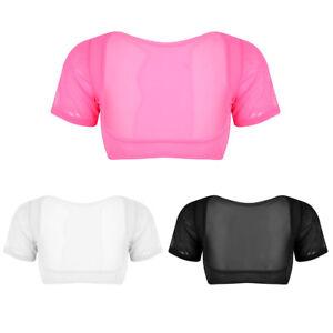 27313733eed Details about Sexy Women s Open Bust Sheer Mesh Short Crop Top Bustier Bras  Bralette Cupless