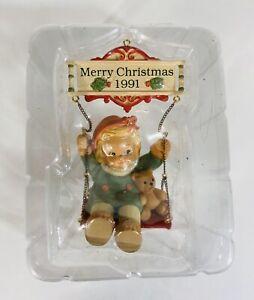 Enesco Merry Christmas 1991 Ornament Girl Bear on Swing Vintage Sealed No Box