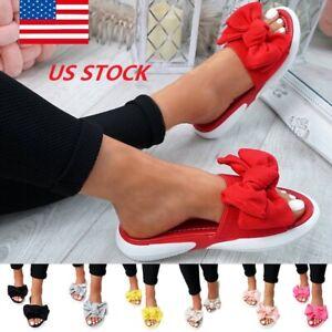 Ladies-Women-Ladies-Bow-Flat-Sandals-Slip-On-Sliders-Peep-Toe-Shoes-Size-4-5-11