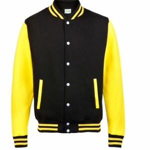 Black-amp-Yellow-Unisex-Adult-Varsity-Baseball-Sports-Jacket-With-Knitted-Cuffs