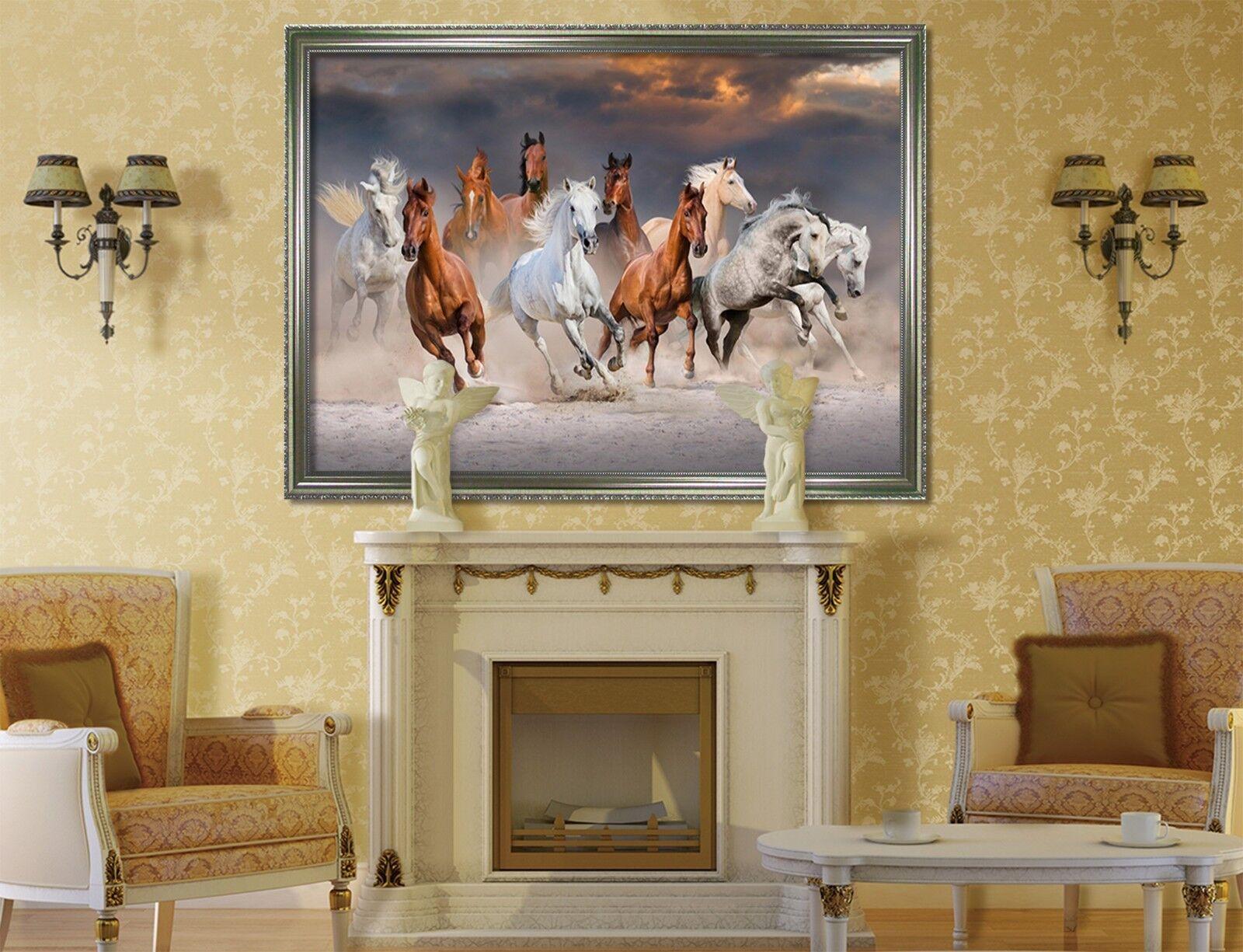 3D Running Horse 5 Framed Poster Home Decor Print Painting Art AJ WALLPAPER AU