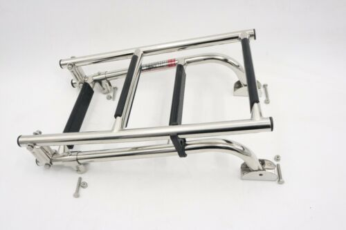 Marine stainless steel folding ladder 2+2 steps for marine and boat rubber grip