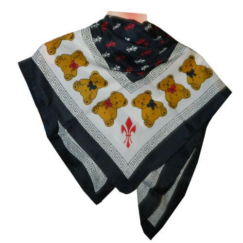 Halstuch Teddybären Lilien Muster schwarz 86x86cm bedruckt Viskose Kopftuch