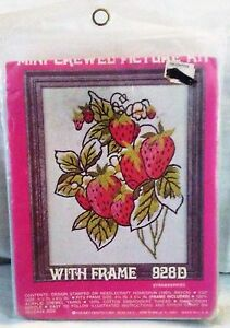 Vintage-Crewel-Mini-Kit-Needlepoint-Craft-Country-Strawberry-w-Frame-828D-NEW