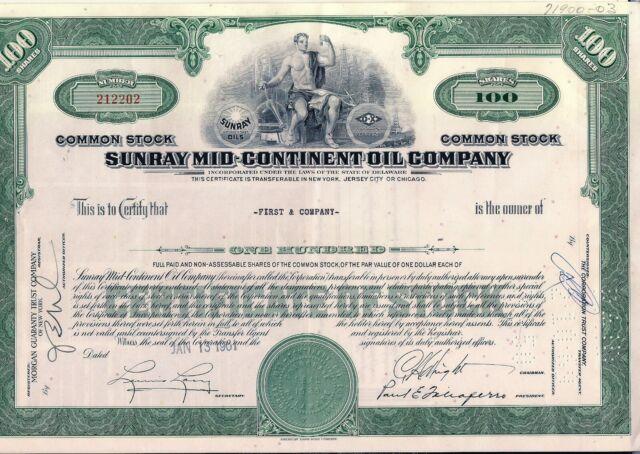 Stock certificate Sunray Mid-Continent Oil Company green Delaware