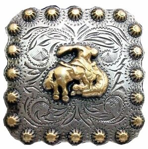 "Western Equestrian Cowboy Decor Bright Silver Headstall 2 1//4/"" Square Concho"