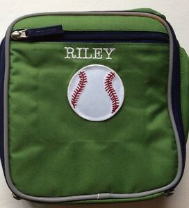 Pottery Barn Kids Lunch Box Monogrammed Riley Baseball Green