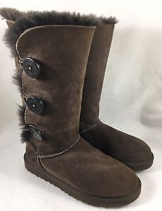 a8b52064944 Details about Ugg Bailey Button Triplet Triple Button 1873 Womens Chocolate  Brown Classic Tall