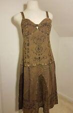 Brown acid wash Maxi Dress szM 90s Grunge New Age Hippie Wiccan Beads Rhinestone