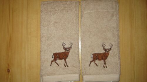 Deer Hunting cabin decor New 2 DEER//BUCK Embroidered Tan Hand Towels