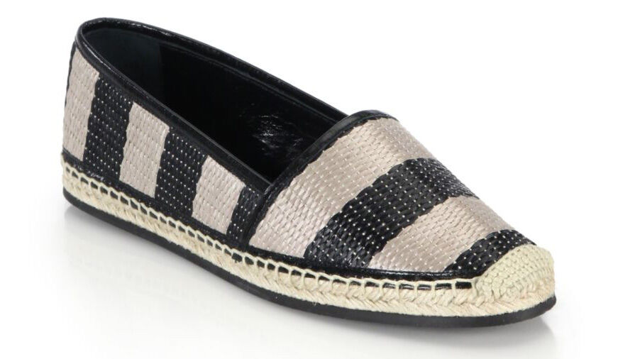 100%authentic Burberry Hodgeson Striped Raffia Espadrille flats  sz 37  7 US