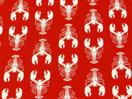 Red//White LOBSTER FABRIC cotton vintage novelty nautical summer retro seaside 1m