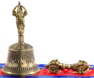 Asiatika: Indien & Himalaya Tibetische Glocke 13 Cm Im Set Mit Dorje & Hülle Handarbeit Nepal Ghanta Entstehungszeit Nach 1945