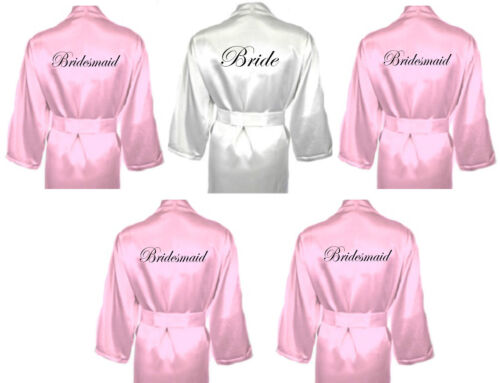 Personalised Wedding Robe Set of 5 Bridal Satin Dressing Gowns White & Baby Pink