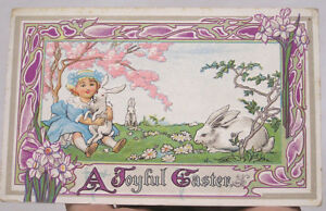 Vintage-Easter-Postcard-Art-Nouveau-Border-Girl-with-White-Bunnies-Daffodils