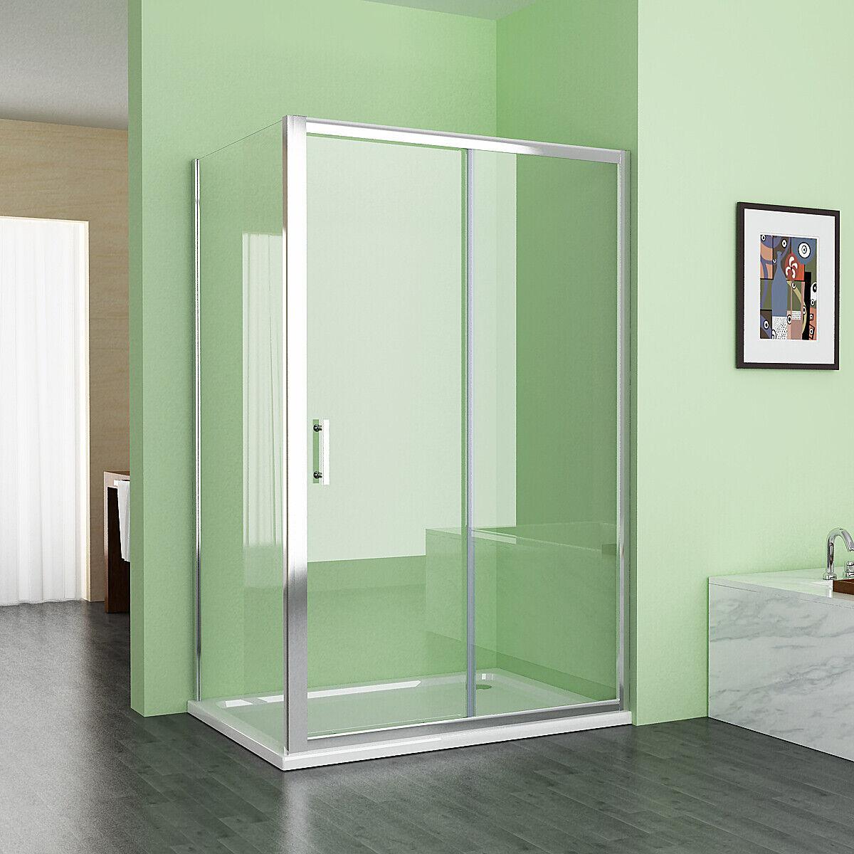 Shower Enclosure And Tray Sliding Door 6mm Easyclean Glass Rectangle Cubicle 185