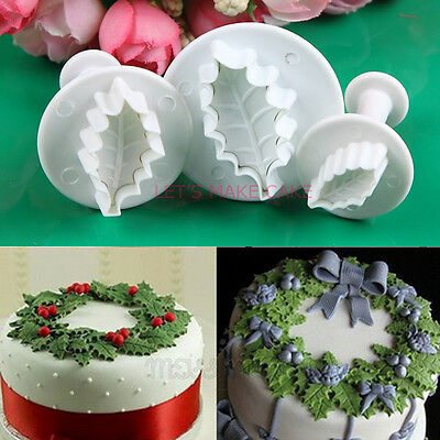 3pcs Holly leaf Cookie Plunger Cutter Fondant Sugarcraft Mold Cake Decorating