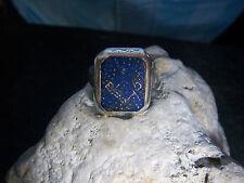 schwerer Art De-Co  Siegelring Ring Lapislazuli Achteckige Zarge 925er Silber