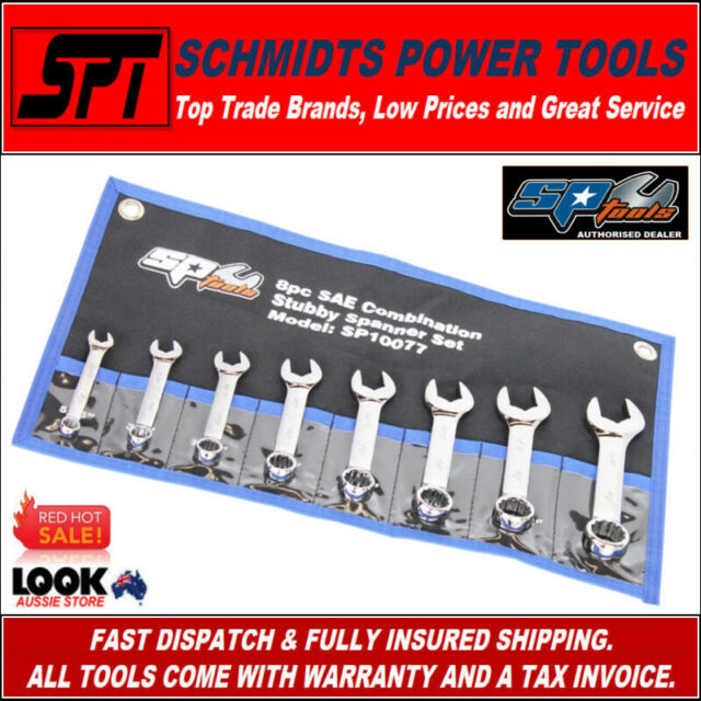 SP TOOLS SP10077 SAE STUBBY SPANNER SET COMBINATION WRENCH SET 11 PIECE IMPERIAL