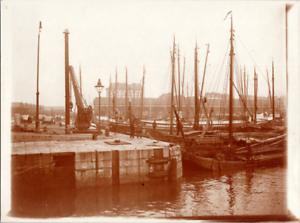 Pays-Bas, Amsterdam, le port Vintage print Tirage citrate  8x11  Circa 1