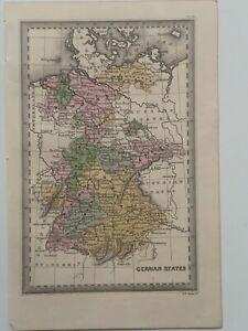 1834 Germania Colorato A Mano Originale Antico Mappa da Cary & Lea 186 anni