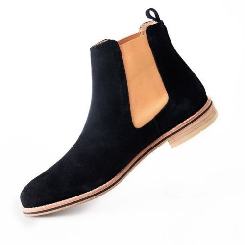 MEN HANDMADE GENUINE SUEDE LEATHER Schuhe CHELSEA BLACK CASUAL BOOTS