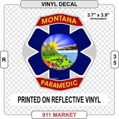 Montana Reflective Paramedic Vinyl Decal Sticker MT Emergency EMS Patch R 35