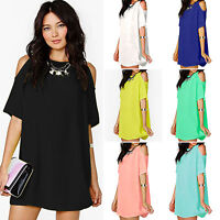 Women's Chiffon Off Shoulder Loose T-Shirt Long Tops Blouse Mini Dress PLUS SIZE