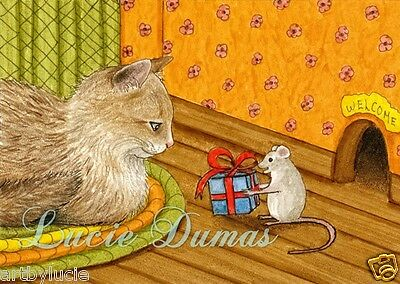 ACEO LE art print Cat 346 mouse from original painting by L.Dumas