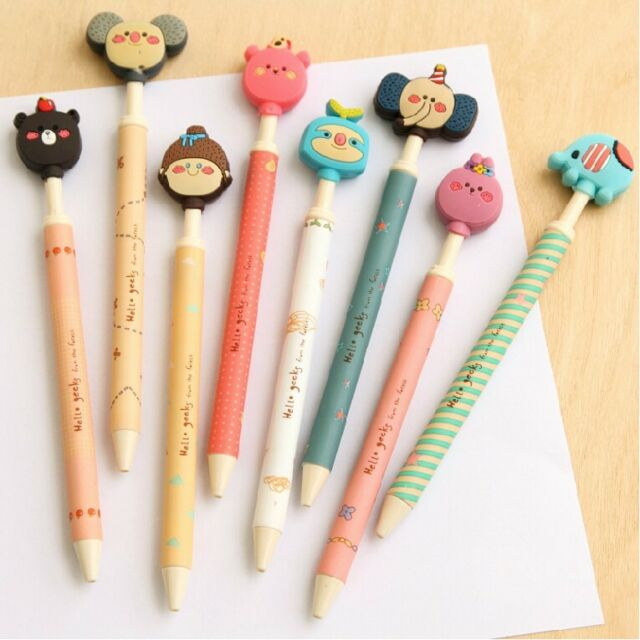 """Happy Zoo"" 8 Pcs Black Ink Cute Rollerball Pens Gel Pen Pens School Stationery"