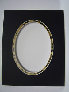 Details About Picture Frame Mat 8x10 For 5x7 Photo Black Oval With Leopard Animal Inner Mat