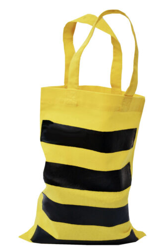 Small 100/% cotton yellow : Stripey BEE PARTY//GIFT BAG Reusable.