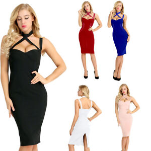 Sexy-Womens-Sleeveless-Halter-Short-Dress-Club-Cocktail-Party-Evening-Bodycon