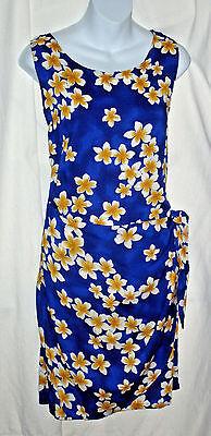 Pikake Plantation Hawaiian Clothing Blue Sarong Wrap Style Sheath Dress Size L
