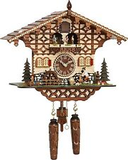 NEW Chalet Cuckoo clock, 43 cm, moving Lumberjack + dancers, Quartz, German made