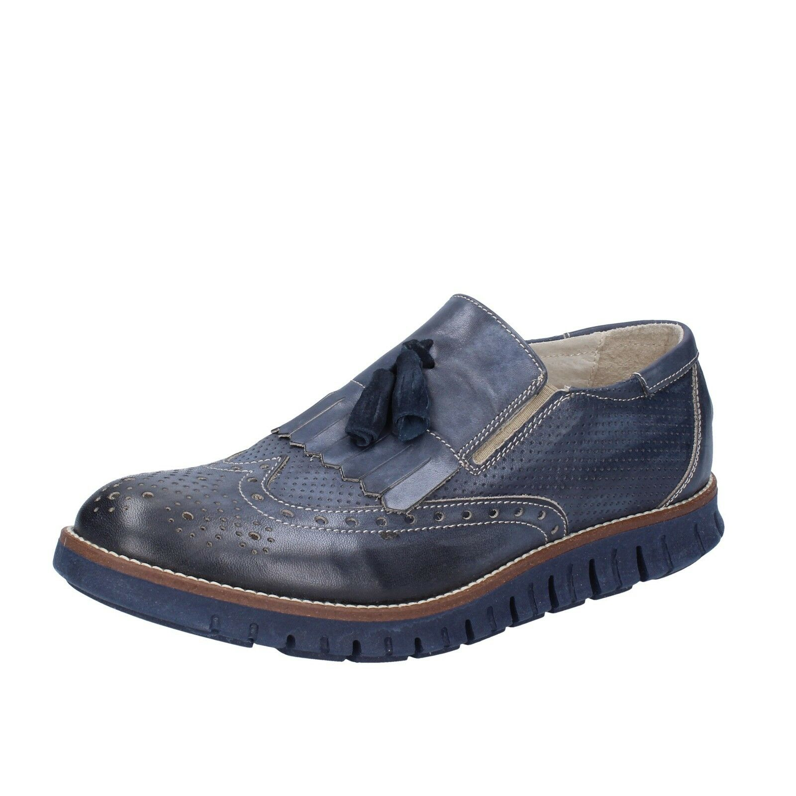 Mens shoes OSSIANI 7 () loafers bluee leather BT866-41