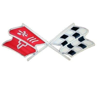 "C4 Corvette Crossed Flag Metal Magnet Emblem Art 5/"" x 3/"" 84-90 PhotoSteel"
