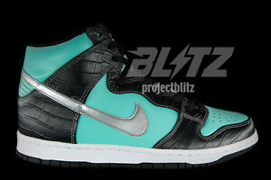Nike Dunk High Premium SB DIAMOND SUPPLY CO Sz 9.5 AQUA CHROME BLACK 653599-400