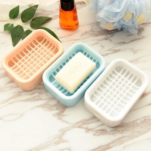 1pc Plastic Soap Dish Bathroom Double Draining Soap Holder Non-slip Soap Box New
