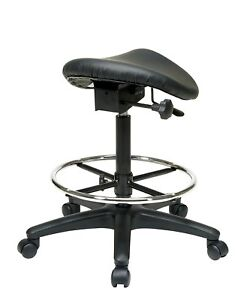 Image Is Loading Tall Saddle Stool Black Medical Dental Office Chair