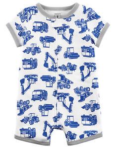 6eb9a7b7b6d9 NWT Carter s Construction Trucks Zip-Up Pajamas PJs 1PC Baby Boy