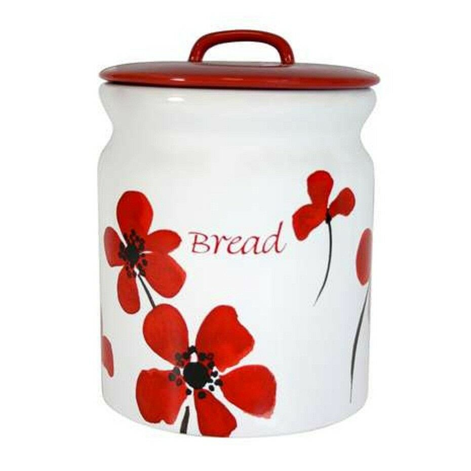 Brand New Tableware Stylish Design Red Painted Poppy Bread Bin Easy To Clean