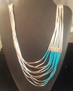 Hand-Strung-Liquid-Silver-amp-Blue-Turquoise-10-Strings-Waterfall-Necklace-16-034-L