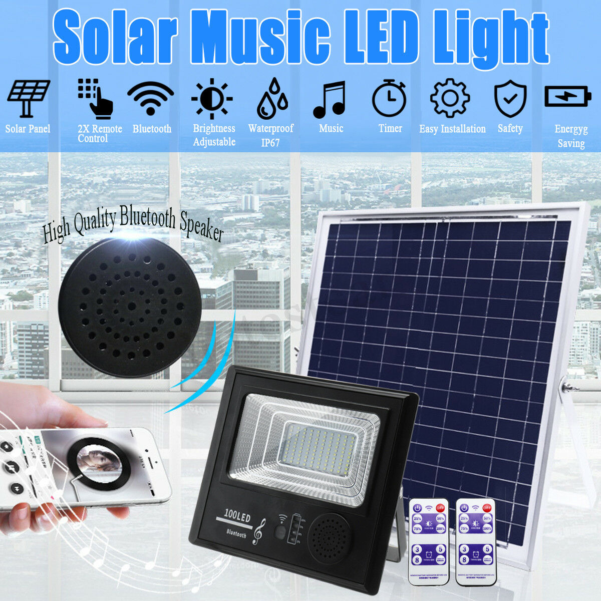 LED Solar Power Music Floodlight Blautooth Speaker Outdoor Garden Remote