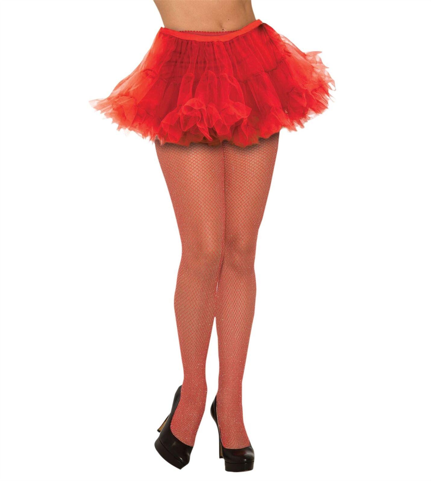 Fishnet Stockings Glitter Red, Fancy Dress