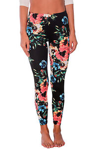 Sexy-Pantaloni-aderenti-Stampa-Floreale-Casual-Party-Floral-Stretchy-Leggings-M