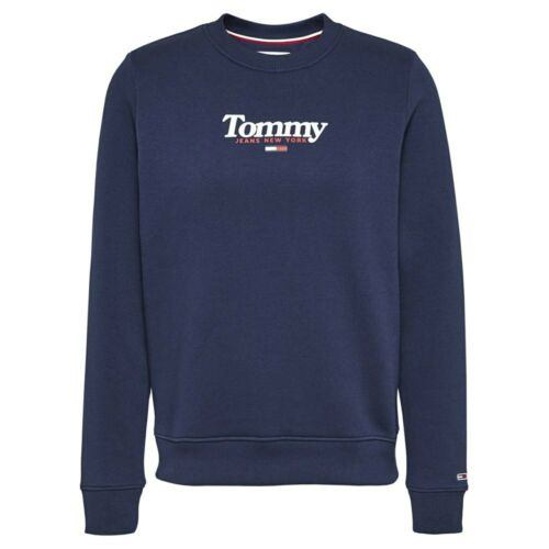 TOMMY JEANS ESSENTIAL LOGO CREW PULLOVER DAMENKLEIDUNG BLAU PULLOVER