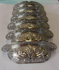"""Lot of 6 Bin Pulls Cup Drawer Pull Satin Nickel Ornate 64mm 2-1/2"""" Centers"""